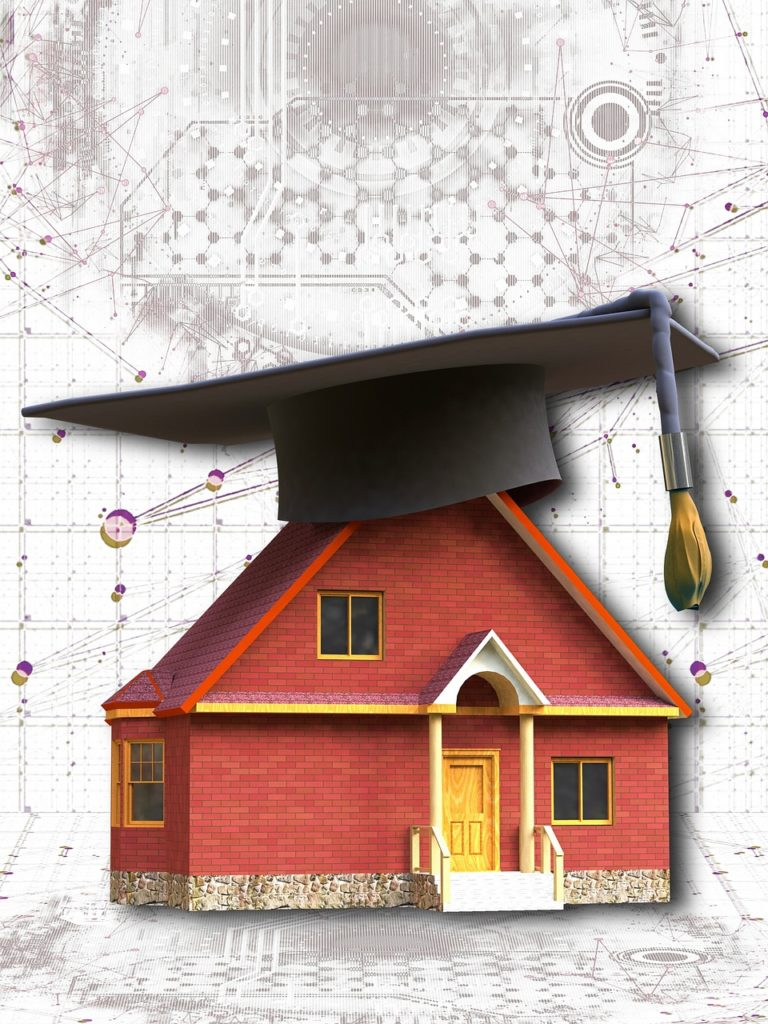 smart home, house, mortarboard